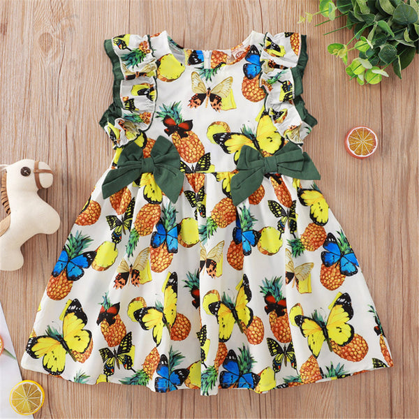 Girls Butterfly Fruit Printed Bow Sleeveless Dress kids clothing vendors