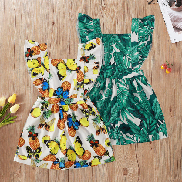 Girls Butterfly Leaves Printed Flying Sleeve Jumpsuit children clothing vendors
