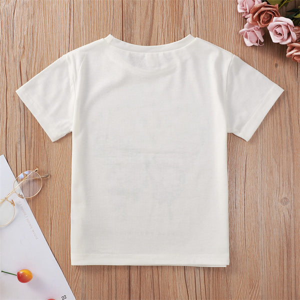 Girls Butterfly Letter Printed Short Sleeve Crew Neck Tees little girl dresses boutique