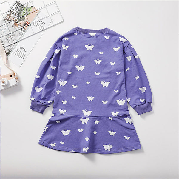 Girls Butterfly Printed Long Sleeve Fashion Dress Baby Girl Clothes Wholesale