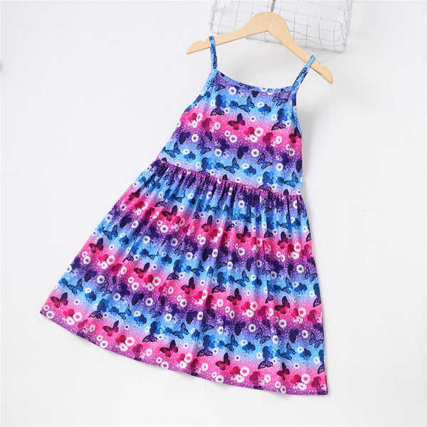 Girls Butterfly Printed Princess Sling Dress children wholesale clothing
