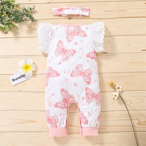 Baby Girls Butterfly Printed Short Sleeve Romper & Headband Wholesale Clothing Baby