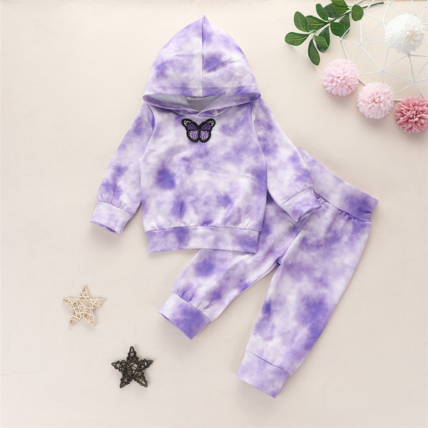 Girls Butterfly Tie Dye Long Sleeve Hooded Tops & Pants
