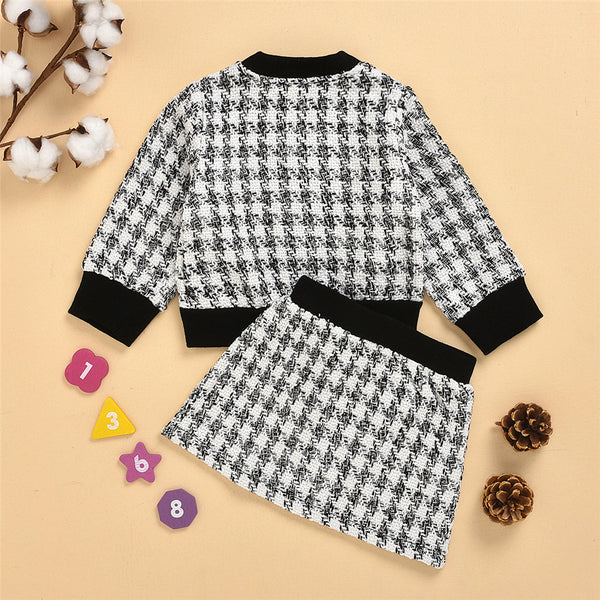Toddler Girls Button Cardigan Plaid Long Sleeve Coat & Skirt Girl Wholesale