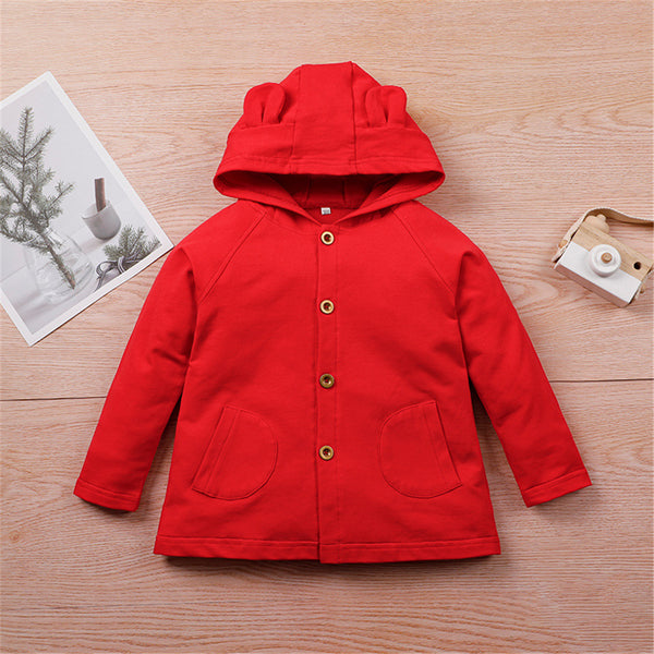 Girls Button Cardigan Solid Color Long Sleeve Hooded Coat Kids Wholesale Clothing