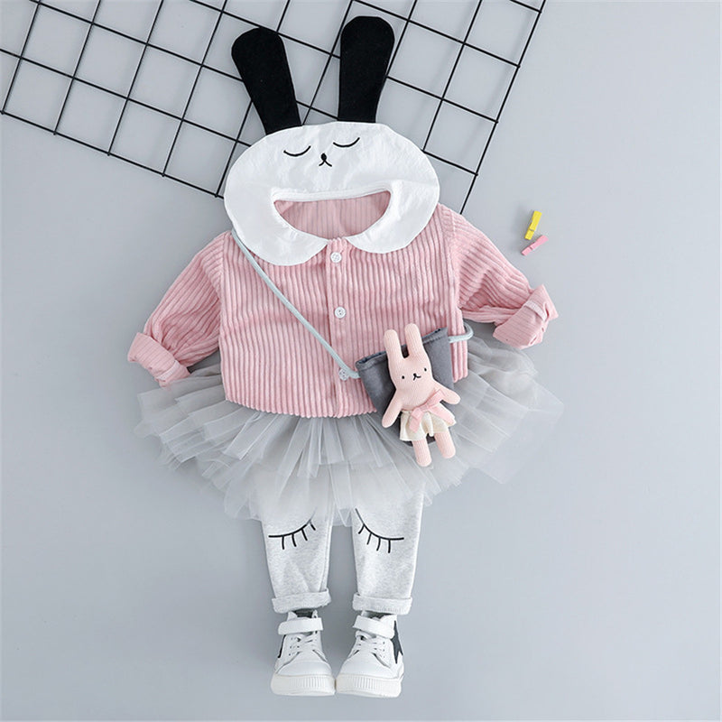 Girls Button Cartoon Rabbit Corduroy Top & Tulle Culottes