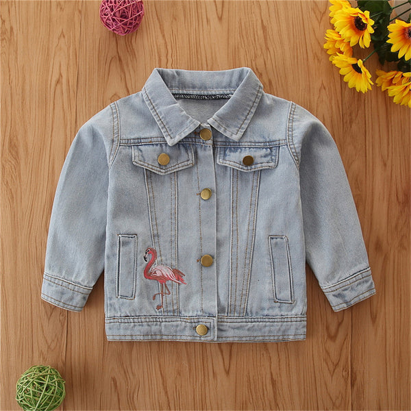 Girls Button Flamingo Long Sleeve Lapel Jacket Girls Clothing Wholesalers