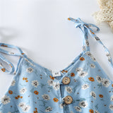 Girls Button Flower Printed Sling Jumpsuit kids clothing wholesale