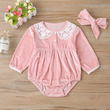 Baby Girls Button Lace Long Sleeve Rompers & Headband