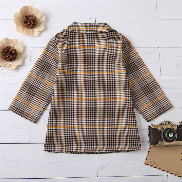 Girls Button Lapel Long-Sleeve Plaid Outwear Girls Boutique Clothes Wholesale