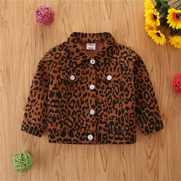 Girls Button Lapel Long Sleeve Leopard Printed Jacket Girls Clothes Wholesale