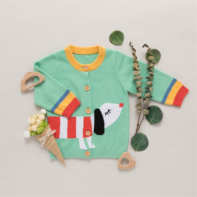 Baby Boys 4PCS Button Long Sleeve Cute Puppy Sweaters