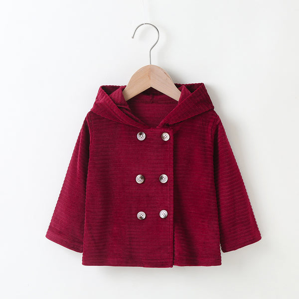 Baby Girls Button Long Sleeve Hooded Jackets Boutique Baby Clothes Wholesale