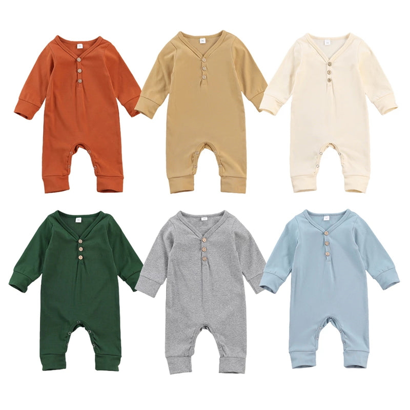 Baby Button Long Sleeve Solid Color Romper Wholesale Baby Clothes Bulk