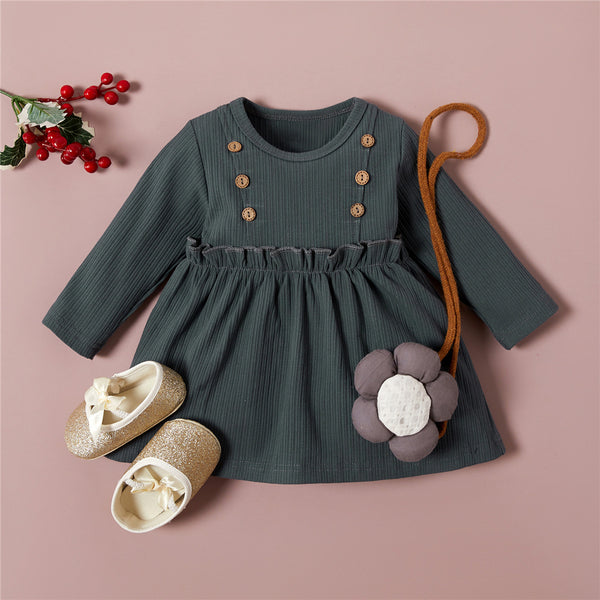 Girls Button Long Sleeve Solid Pleated Girls Wholesale Dresses