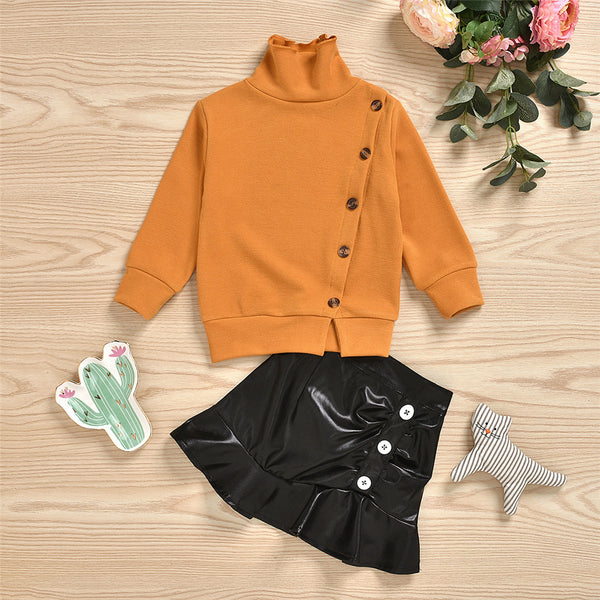 Girls Button Long Sleeve Sweaters & PU Skirt Girls Wholesale Clothes