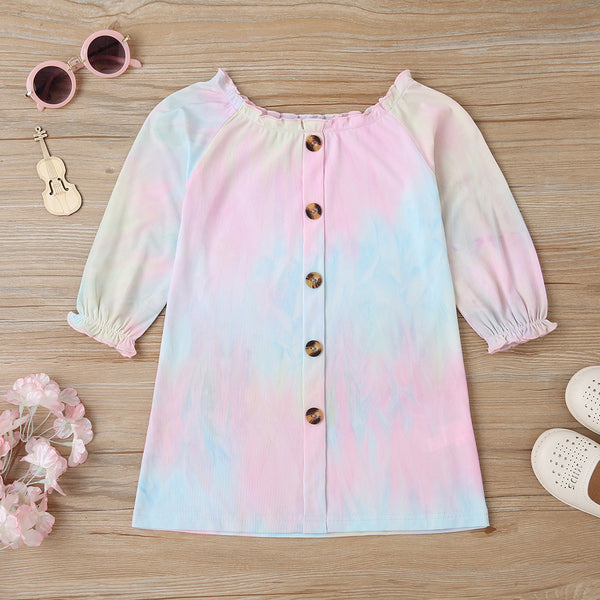 Girls Button Long Sleeve Tie Dye Dress Wholesale Girls Clothing