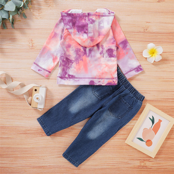 Unisex Button Long Sleeve Tie Dye Top & Ripped Jeans Children Apparel Wholesale