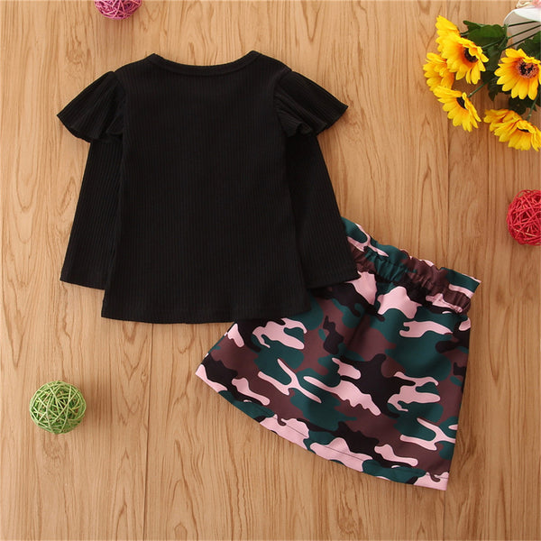 Girls Button Long Sleeve Top & Camo Skirt Toddler Girls Wholesale