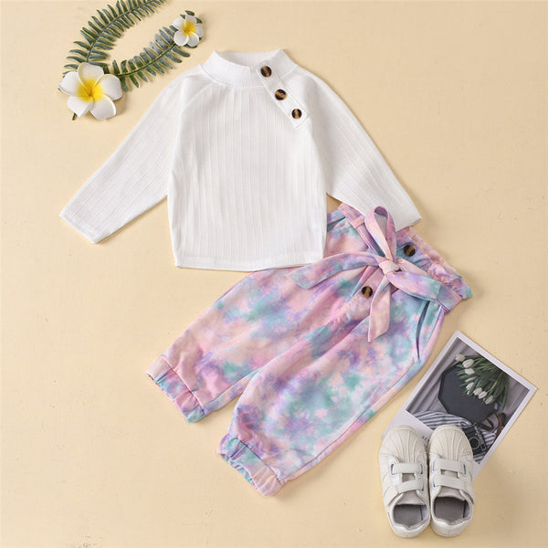Girls Button Long Sleeve Top  & Tie Dye Trousers Baby Girl Wholesale