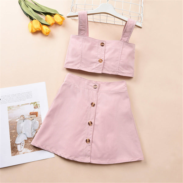 Girls Button Pink Sling Solid Top & Skirt kids clothes wholesale