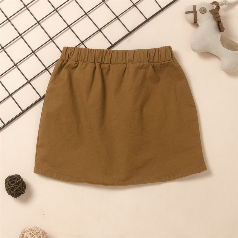 Girls Button Pocket Solid Color Elastic Waist Skirt Wholesale Little Girl Boutique Clothing