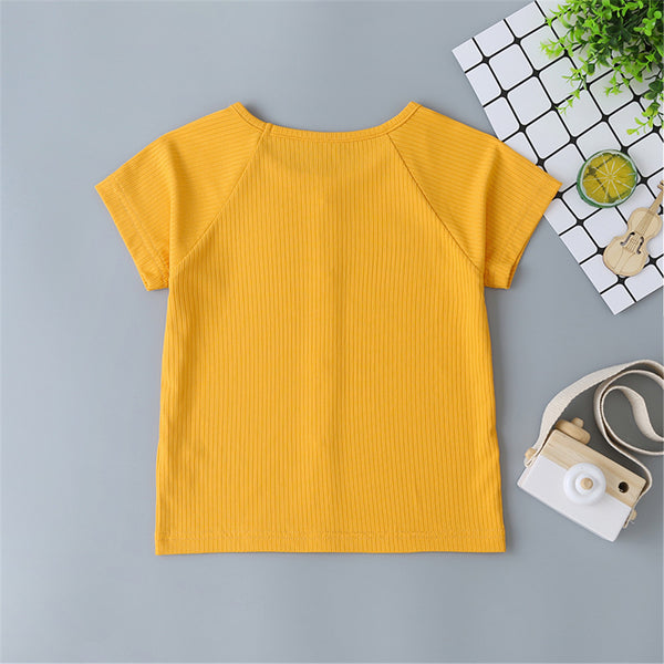 Girls Button Short Sleeve Solid Top Baby Girl Boutique Clothing Wholesale