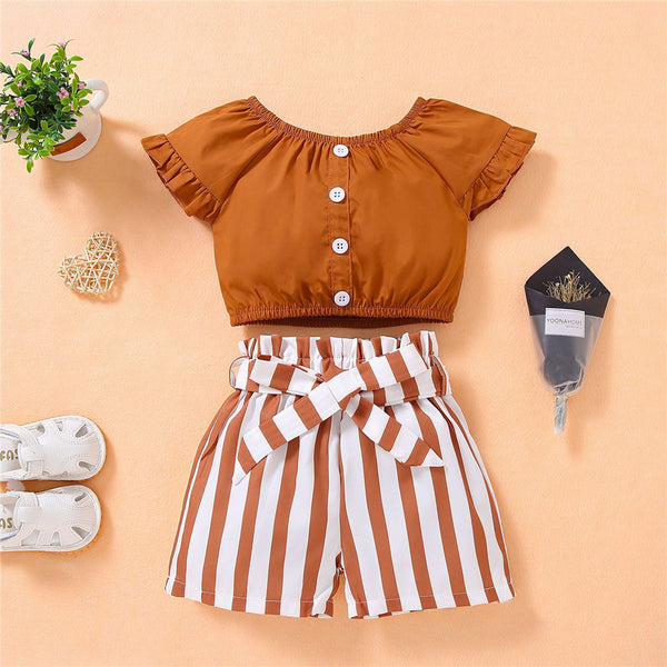 Girls Button Short Sleeve Solid Top & Striped Shorts wholesale kids boutique clothing