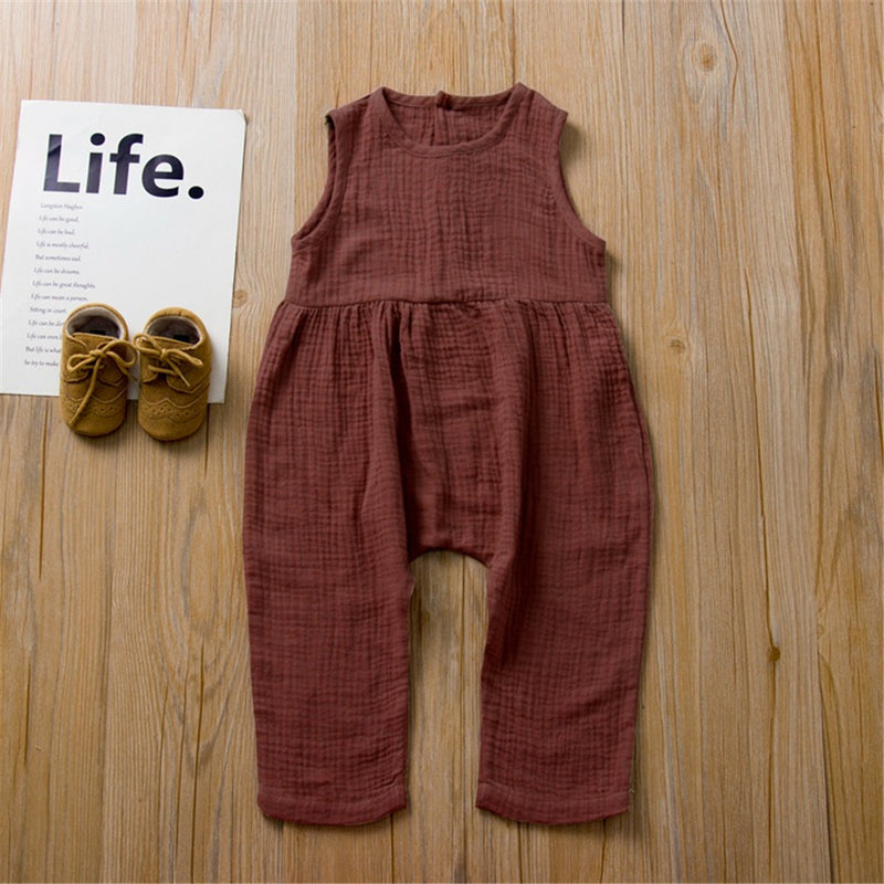 Unisex Button Sleeveless Solid Color Jumpsuit wholesale childrens clothing