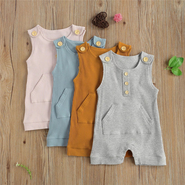 Baby Unisex Button Sleeveless Solid Romper Wholesale Baby Clothes