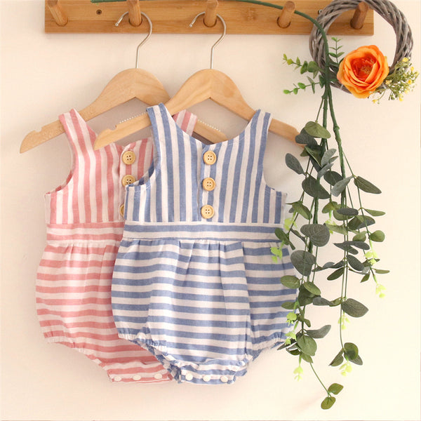 Baby Girls Button Sleeveless Striped Romper Wholesale Baby Clothes