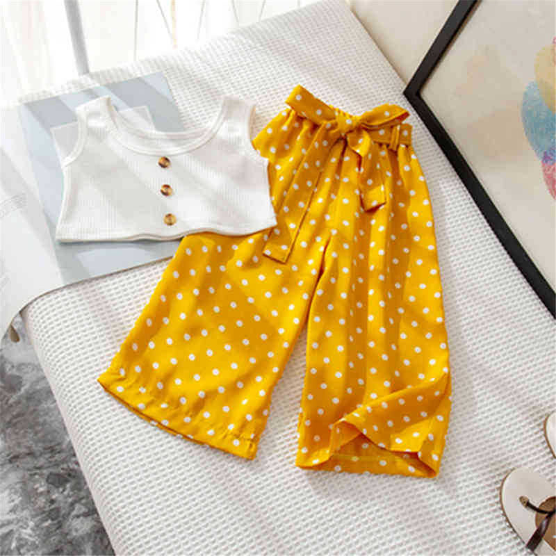 Girls Button Sleeveless Top & Polka Dot Pants childrens wholesale clothing