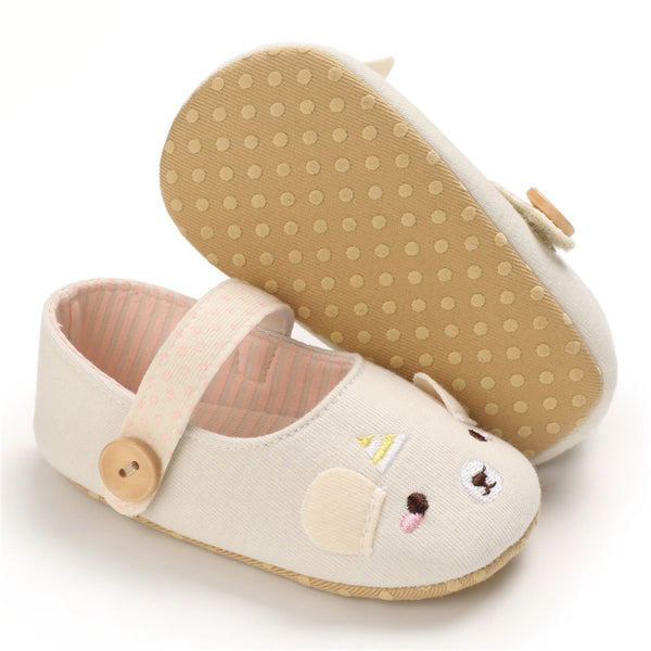Baby Girls Button Soft Sole Cartoon Shoes Wholesale Girls Shoes