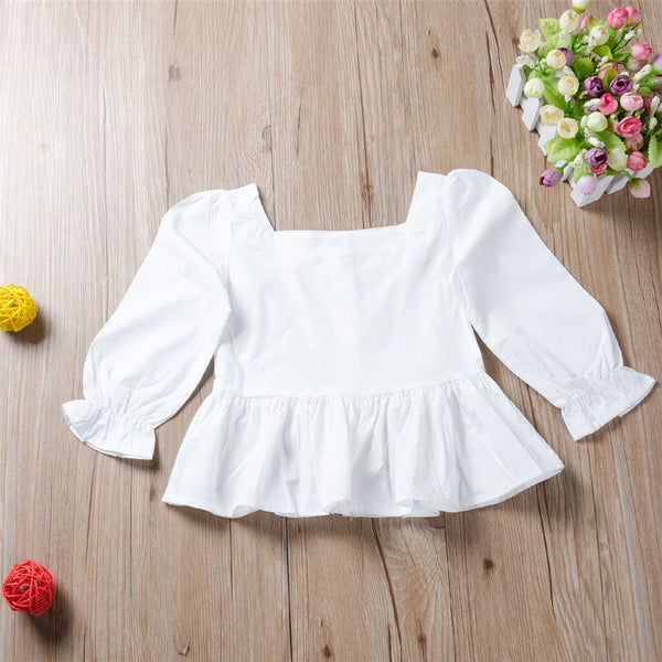 Girls Button Solid Color Long Sleeve Blouse Girls Clothes Wholesale