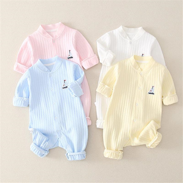 Baby Button Solid Color Long Sleeve Rompers