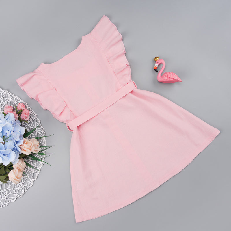 Baby Girls Button Solid Color Ruffled Sleeveless Dress Baby Wholesales