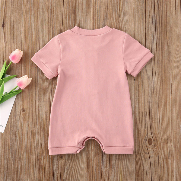 Baby Unisex Button Solid Color Short Sleeve Romper Baby Boutique Clothes Wholesale