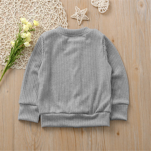 Girls Button Solid Long Sleeve Cardigan Sweaters Girls Wholesale Clothes