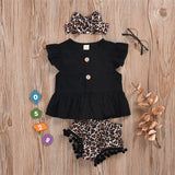 Girls Button Solid Short Sleeve Top & Shorts & Headband wholesale children's boutique clothing suppliers