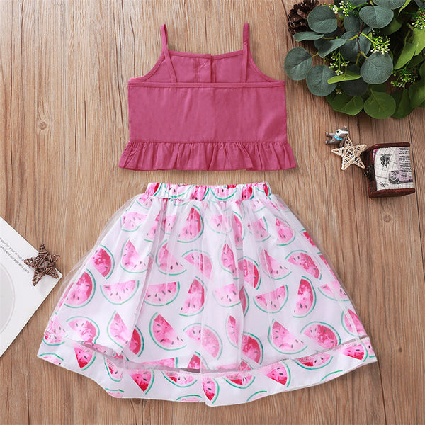 Girls Button Solid Tank Top & Floral Printed Skirt Cheap Childrens Clothes Wholesale