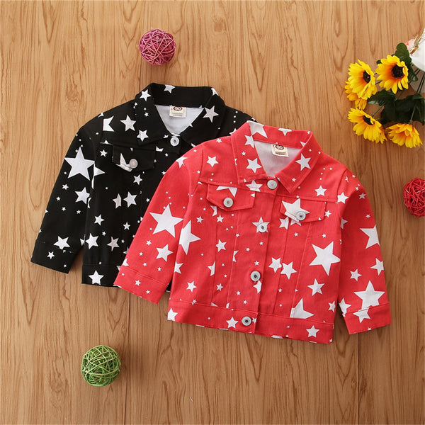 Girls Button Star Printed Lapel Long-Sleeve Jacket Wholesale Girl Clothing