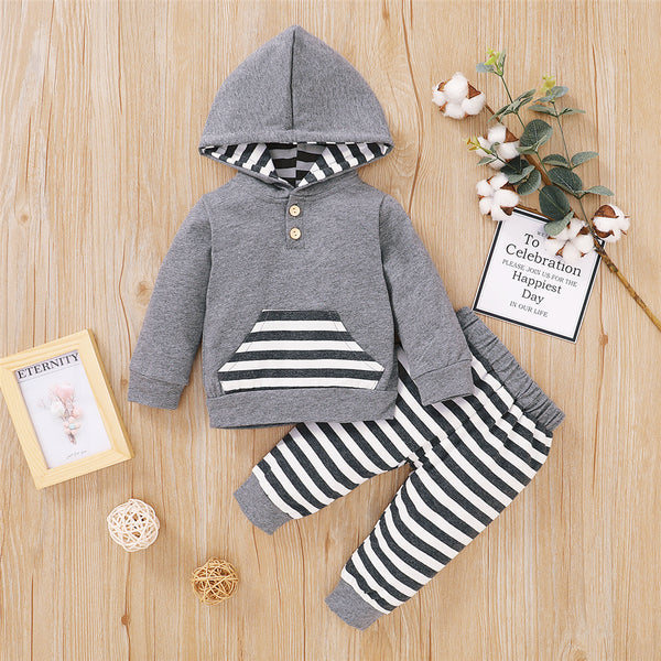 Baby Boys Button Striped Hoodie Long Sleeve Romper Baby Clothes Wholesale Bulk