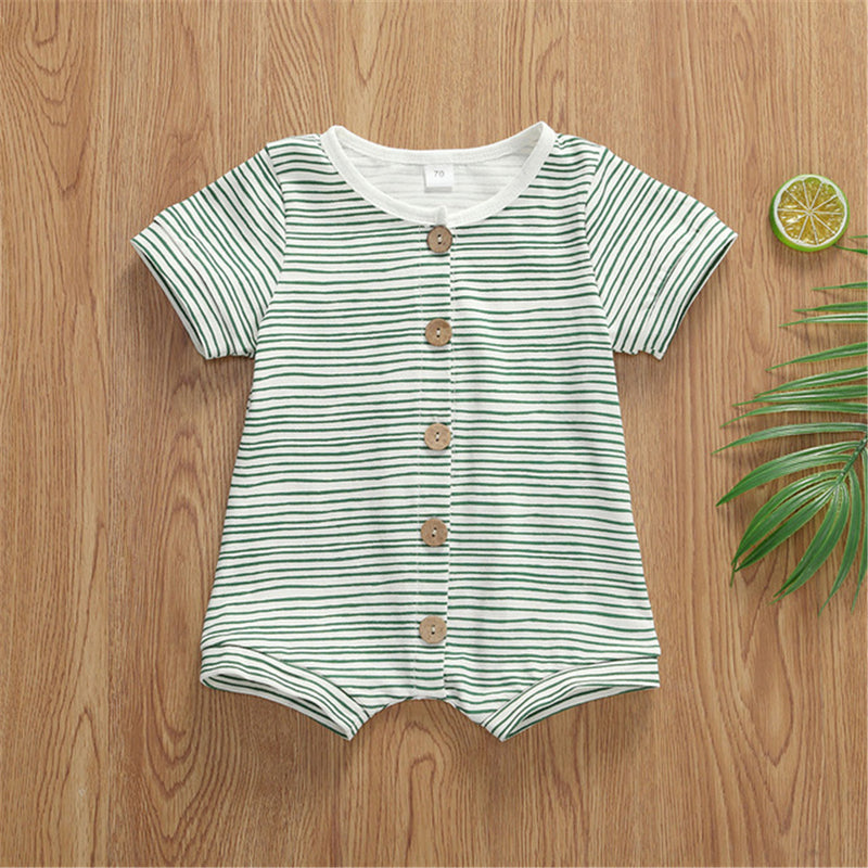 Baby Unisex Button Striped Short Sleeve Cardigan Romper Cheap Baby Boutique Clothes