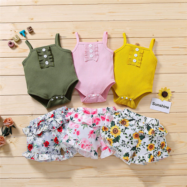 Baby Girls Button Tank Romper Ruffled Floral Printed Shorts baby clothes wholesale distributors