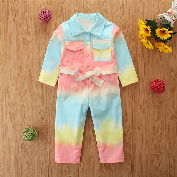 Girls Button Tie Dye Lapel Pocket Jumpsuit Girls Clothes Wholesale