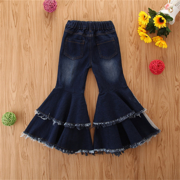 Girls Button Wig Leg Flared Ripped Jeans Little Girl Pants Wholesale