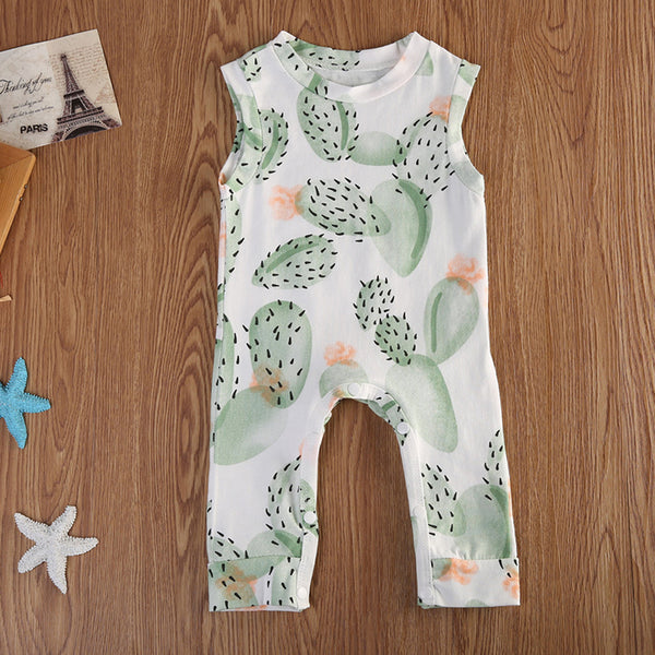 Baby Girls Cactus Printed Sleeveless Romper Baby Boutique Clothes Wholesale