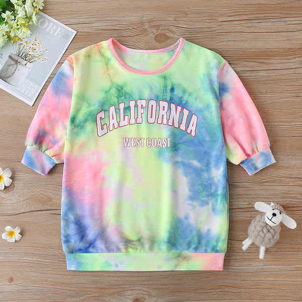 Girls California Letter Printed Tie Dye T-shirts Girls Clothing Wholesalers