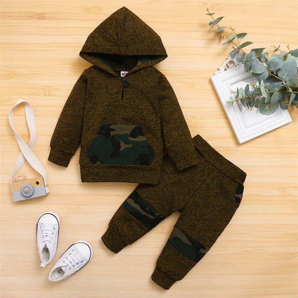 Baby Boys Camo Button Long Sleeve Hoode Top & Pants Buy Baby Clothes Wholesale