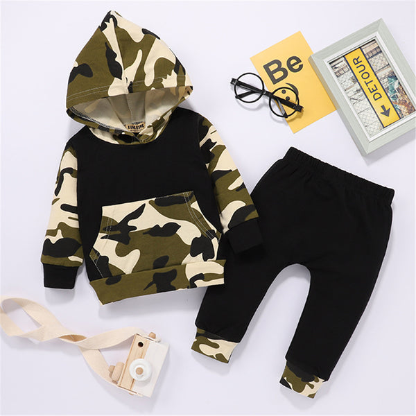 Baby Boys Camo Casual Long-Sleeve Hooded Top & Pants Baby Clothes Cheap Wholesale